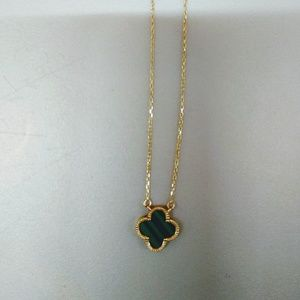 SOLID GOLD MALACHITE NECKLACE